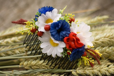 Hřeben do vlasů folkový dřevo šperk víla vlasy přírodní heřmánek louka růže věnec  věneček svatba čelenka 0da780aada