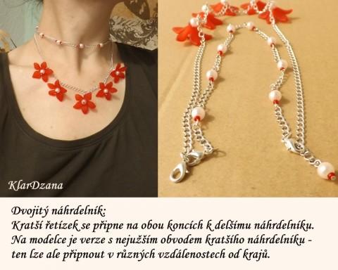 354c54262 Variabilní náhrdelník červené květy náhrdelník korálky květy variabilní  kytičky řetízek červený stříbrná hravý
