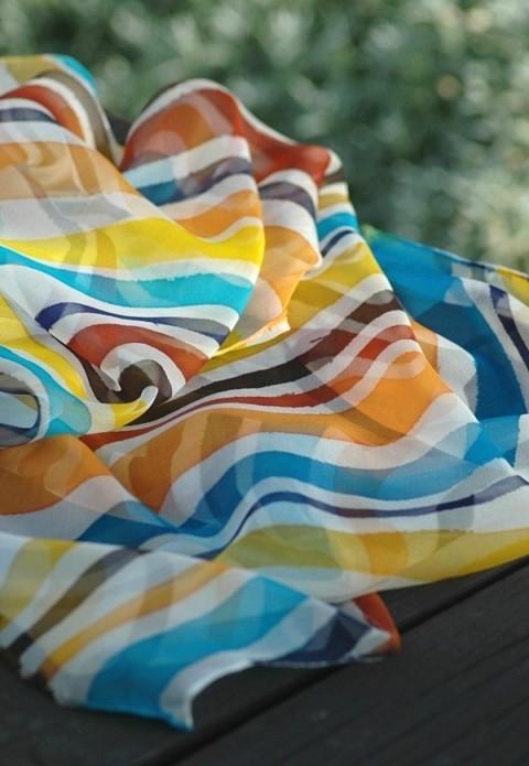 Pruhované léto - hedvábná šála modrá oranžová letní svěží hnědá žlutá šála  pruhovaná léto tyrkysová pruhy 72b86e974c