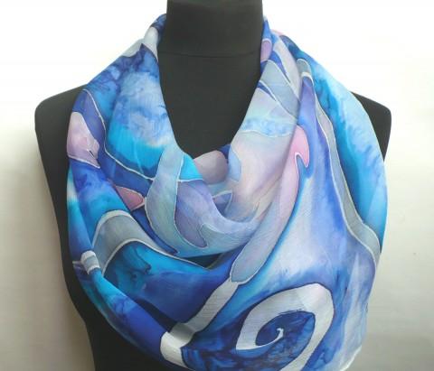 ae9088295d4 Hedvábný pléd 160 x 55 cm. modrá šála hedvábí malovaná šál pléd hedvábná  šála dlouhá