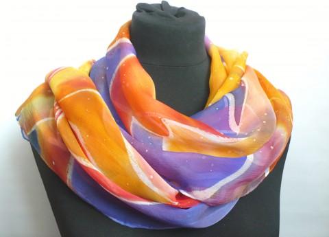 4154633aac3 Hedvábný pléd 160 x 55 cm. šála hedvábí malovaná šál pléd pestrobarevná hedvábná  šála dlouhá
