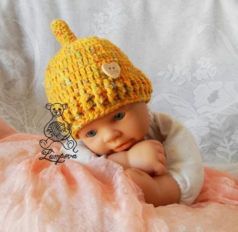 b92165f82c1 Háčkovaná čepička pro miminko dárek děti čepice čepička pletené miminko  oblečení miminka knoflík teplá měkká doplňek