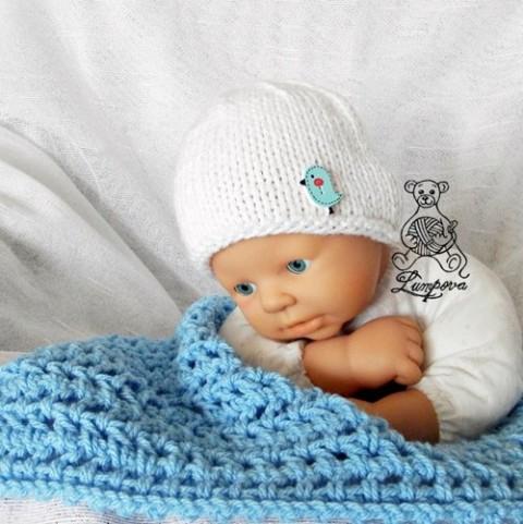 7342d676b7e čepička pro miminko bílá smetanová dárek děti čepice čepička pletené  miminko oblečení miminka knoflík teplá