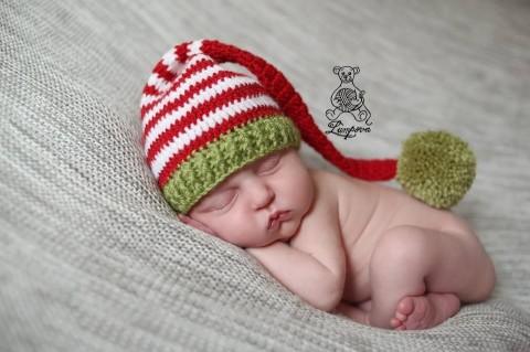 bd9a5e141d6 čepička pro miminko na focení dřevěný dárek děti strom vánoce čepice čepička  vánoční pletené květ miminko