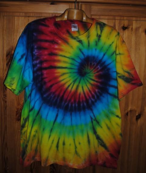 aeaa6ac6ab9 Batikované tričko XXL - Duhový vír batika léto spirála duhový barevný  veselý tričko duha hippie batikované