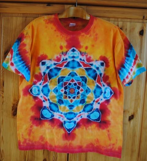 2de0cff07797 Batikované tričko XL - Oheň a voda voda moře oranžová batika veselé léto  tyrkysová sluníčko mandala