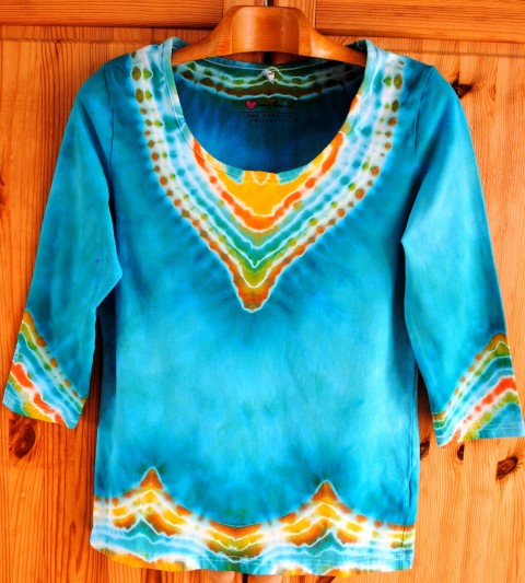 661459d51918 Batikované tričko - Miluji tyrkys voda srdce moře modrá batika veselé léto  tyrkysová sluníčko hippie batikované