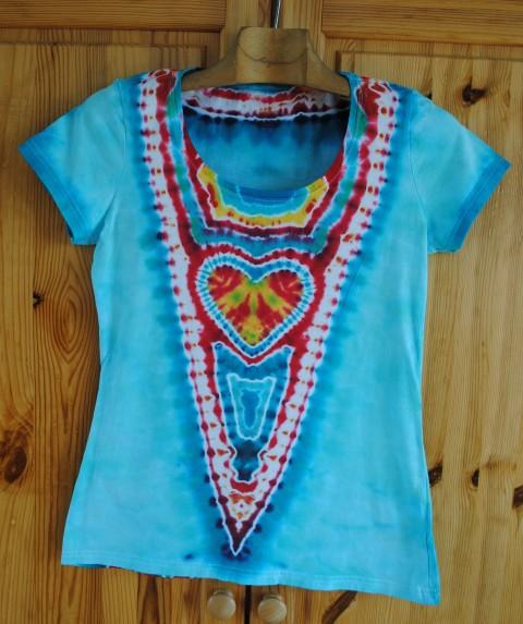 4e9cf298547c Batikované tričko M - Věrná láska srdce srdíčko batika léto tyrkysová  hippie batikované bohémské