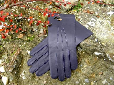 Fialové kožené rukavice ručně šité ručně kožené šité hedvábí rukavice 0aafb2f6b2