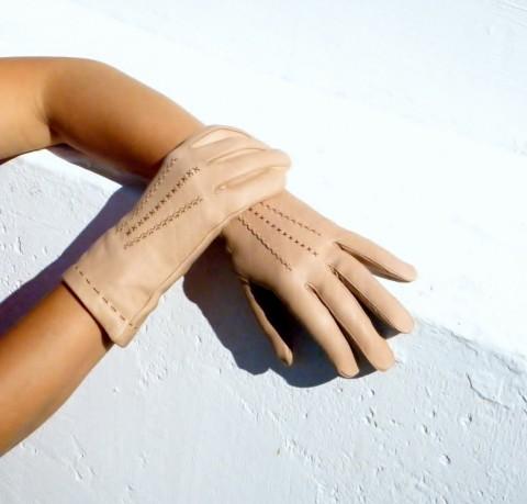 Béžové kožené rukavice s hedvábím kožené rukavice hedvábí  daeb309340