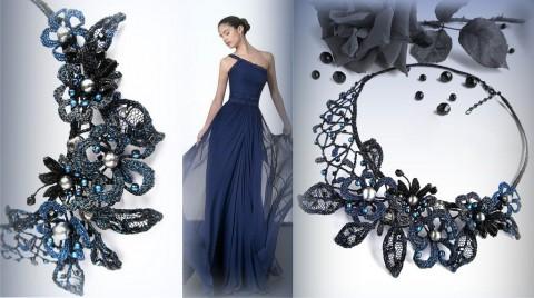 da64c3e175d Noční zahrada náhrdelník modrý originální krajka luxusní společenský  paličkovaná černý