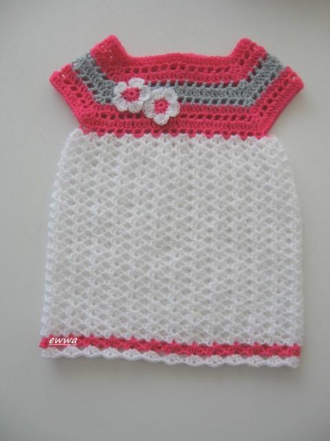 05da6a18b72b Háčkované šatičky děti růžová holčička holčičí letní bílá šedá šaty léto  šatičky