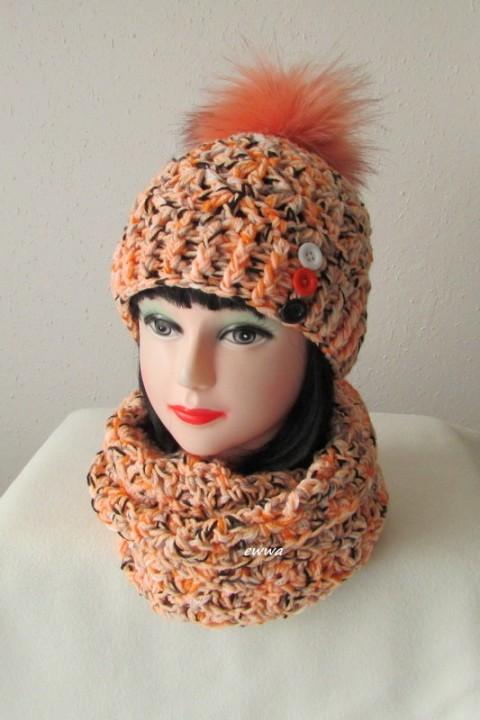 ed118f703b1 Čepice + nákrčník zima oranžová čepice ženy bílá černá šála šedá souprava  dámská zimní háčkované akryl