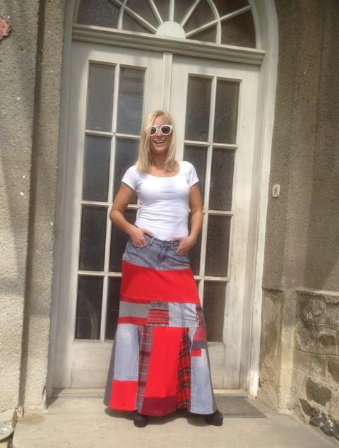 c8abdc95de0f Sukně riflová červená dlouhá červená zábava podzim práce patchwork šití  maxi design jaro sukně úplet výšivka