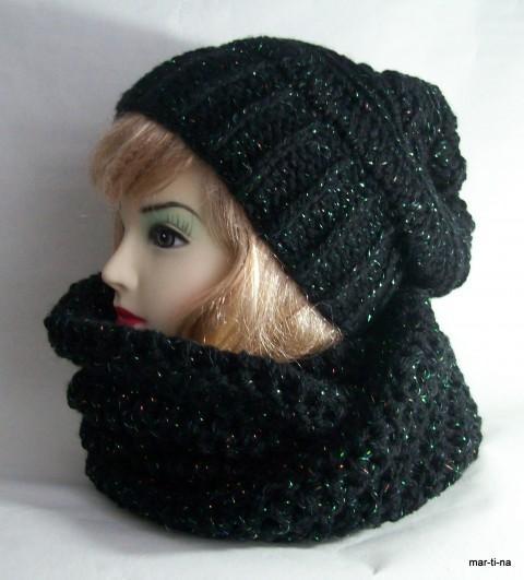 souprava zima čepice moderní černá šála souprava dámská zimní luxusní módní ea5004ae8e