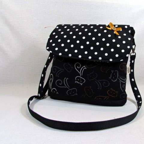 3c5c5bf02f6 kabelka kočky kabelka taška bílá černá puntík kočky kočičí mašlička kočičky  procházka