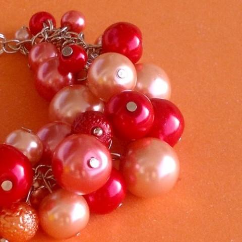 b7c7a5b01 Lososový perlový náramek červená náramek korálky oranžová lososová perličky  perly perlový perličkový blýskavý lososový