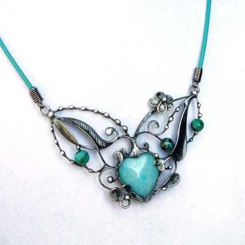 Tyrkenit s malachitem + azuritem šperk srdce cín kuličky srdíčko patina minerály cínovaný tyrkenit malachit azurit