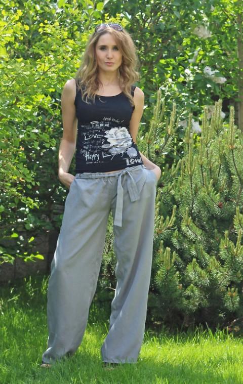 Pohodlné široké kalhoty letní kalhoty dlouhé široké 57d31fd999